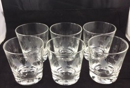 Vintage Etched Old Fashioned Rocks Low Ball Glasses Set of 6 Circa 1960s - $21.50