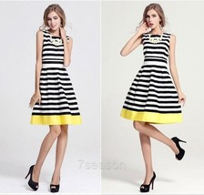 Women's Sleeveless Casual Striped A Line Swing Skater Dress