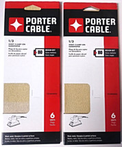 Porter Cable 783800806 1/3 Sheet Clamp On Sandpaper 80 Grit 6 Sheets (2 Packs) - $3.27