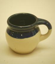 Old Vintage Shadowbox Stoneware Pitcher Jug Cobalt Blue & Cream Miniature Decor - $7.91