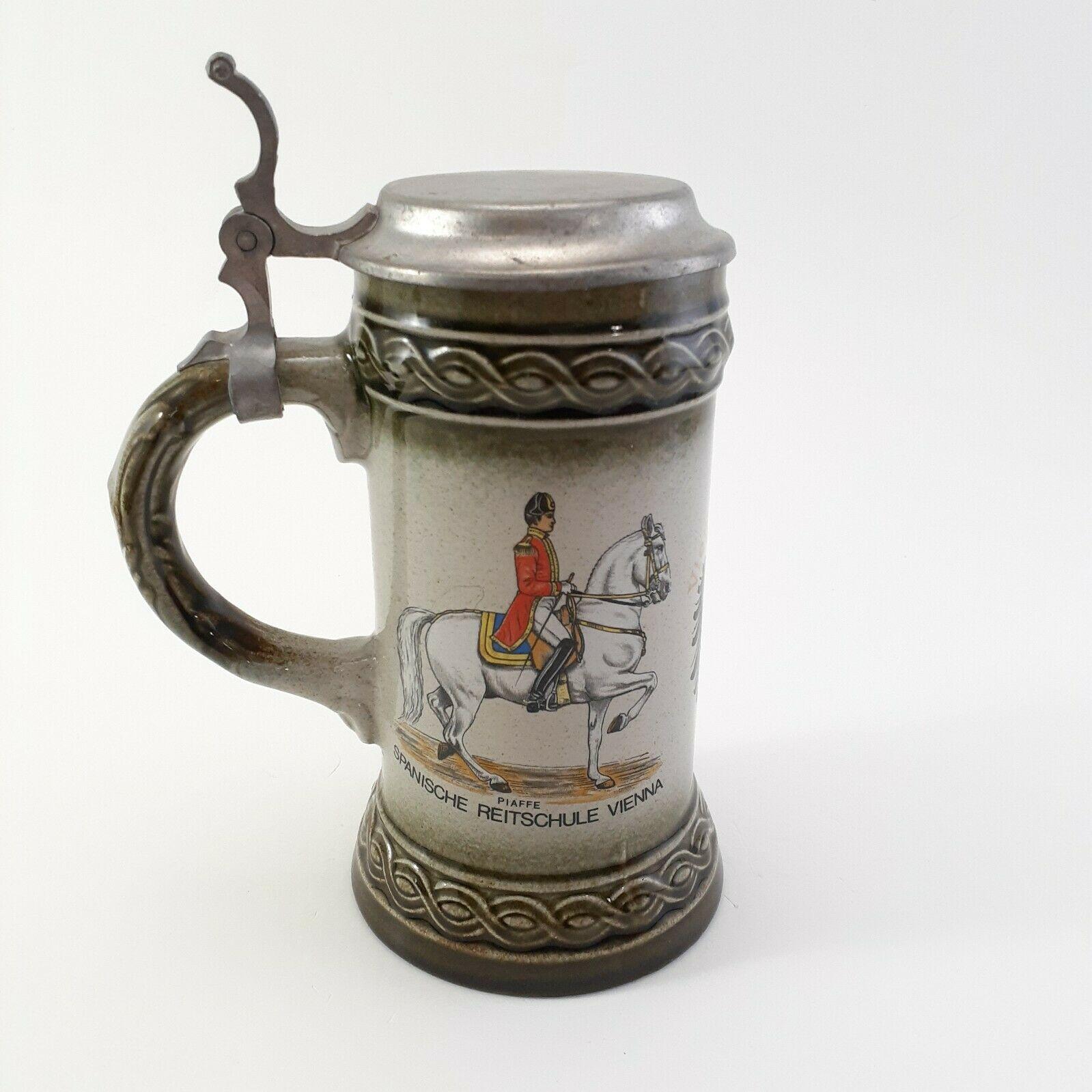 West Germany Stein Piaffe Spanische Reitschule Vienna Souvenir Mug With Lid
