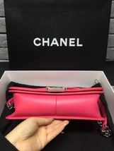 NEW AUTH CHANEL PINK QUILTED PATENT LEATHER MEDIUM BOY FLAP BAG  image 3
