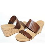 """✿ TEVA Brown Premium Leather 2.5"""" Cork Wedge Slide Comfort Sandal 10 M N... - $46.54"""
