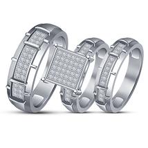 14K White Gold Fn Round Cut Diamond Trio  Engagement RingWedding Band Bridal Set - $152.99