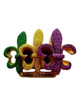 Purple Green Gold Glitter Fleur De Lis Mardi Gras Magnet Party Favor - $4.49