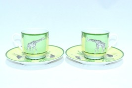 HERMES Africa Green Demitasse Cup and Saucer Set of 2 Espresso Dinnerwar... - $295.02