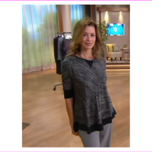 Lisa Rinna Collection Dolman Sleeve Sweater Knit Top, Black Taupe, S - $12.10
