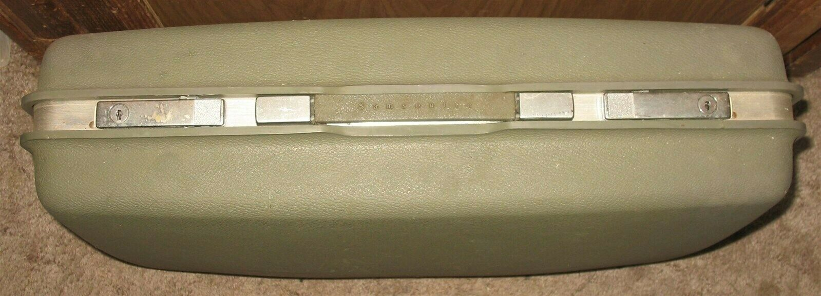 "Vtg Samsonite Saturn 24"" x 18"" x 6 1/2"" Gray/Green Suitcase Hard Travel Luggage"