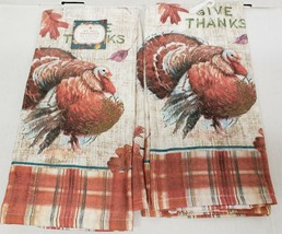 "2 SAME PRINTED JUMBO COTTON TOWELS (16""x26"")THANKSGIVING,TURKEY, GIVE TH... - $13.85"