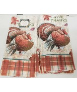 """2 SAME PRINTED JUMBO COTTON TOWELS (16""""x26"""")THANKSGIVING,TURKEY, GIVE TH... - $13.85"""