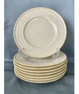 Retired Belleek Salad Plates 8 Piece Set Limpet Yellow Ireland Irish Por... - $130.90