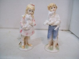 Set of Two Bisque Porcelain Figurines, Girl & Boy with Dogs, Decor St. P... - $19.79