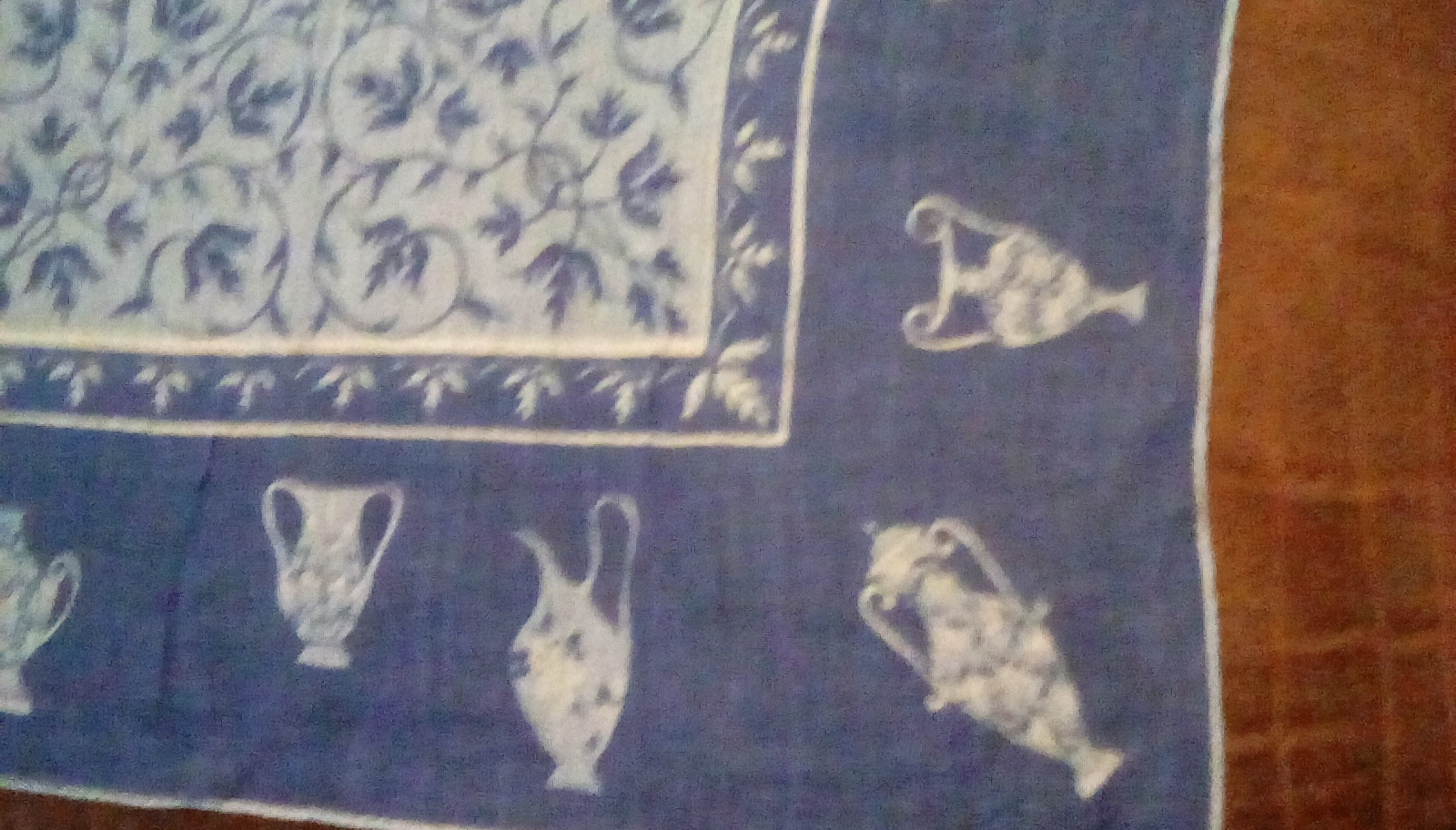 Faith Austin Handkerchief EUC Blue Urn Print image 5