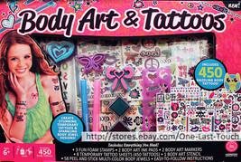 HORIZON GROUP USA 75pc Box Set BODY ART & TATTOOS Stamps+Stencil+Jewels+... - $14.39