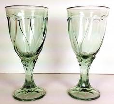 "Set Of 2 Noritake Sweet Swirl Wine Glass Light Green Pattern 603 6-3/4"" - $17.81"