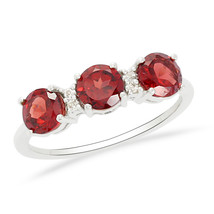 Original Red Garnet Gemstone 925 Sterling Silver Ring Jewelry Size 6 SHR... - €13,46 EUR