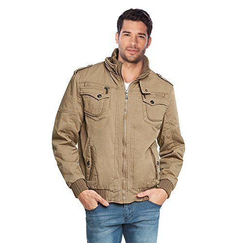 Maximos Men's Hooded Multi Pocket Sherpa Lined Bomber Jacket Sahara-03 (Medium,