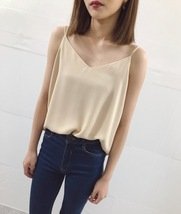 WHITE Summer Chiffon Top Sleeveless V-Neck Chiffon Tank Wedding Bridesmaid Tops  image 8