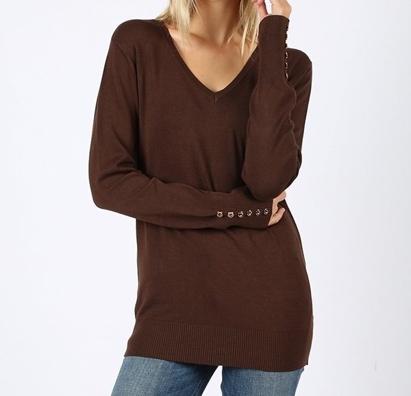 Brown V Neck Sweater, Long Sleeve Brown Sweater, Brown Sweater, Colbert Clothing
