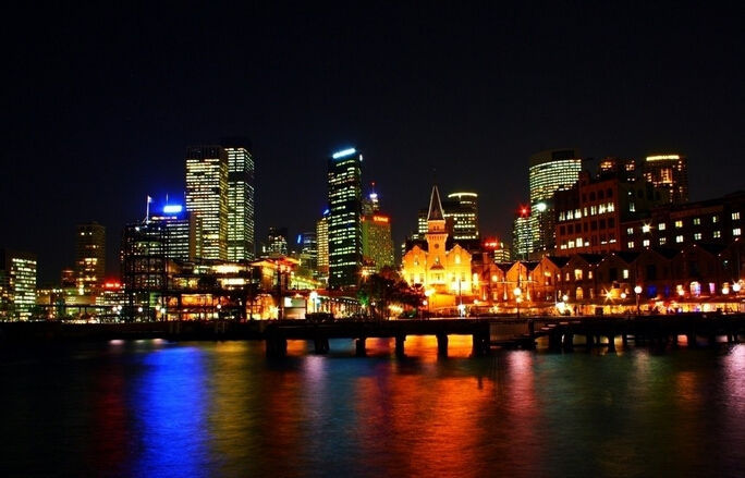 Primary image for 3D Sydney Night Lights Wall Paper Wall Print Decal Wall Deco Indoor wall Murals
