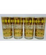 Set of 4 Mid Century Vintage Bar Glasses Gold Textured Diamonds 1960s Retro - $25.73