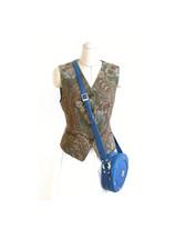 Authentic MCM Blue Leather Round Tambourine Shoulder Crossbody Handbag - $380.00