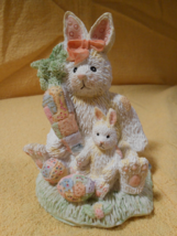 ALABASTER RABBIT AND BUNNY FIGURINE WITH CARROT AND EASTER EGGS SITTING ... - $19.95