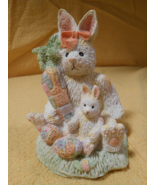 ALABASTER RABBIT AND BUNNY FIGURINE WITH CARROT AND EASTER EGGS SITTING IN GRASS - $19.95