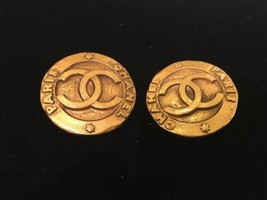 Authentic CHANEL Vintage Gold White Logo Clip on Earrings Coco CC HCE087 - $432.14