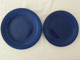 "VINTAGE FIESTA HOMER LAUGHLIN COBALT BLUE PLATES 10 1/4"" & 9 1/4"" - $17.33"
