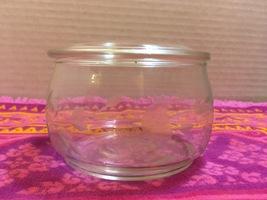 Vintage Clear Etched Glass Pyrex Dresser/Vanity Jar Trinket Jar With Lid - $10.00