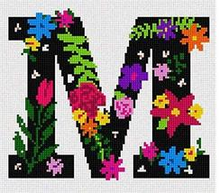 pepita Letter M Primary Floral Needlepoint Kit - $90.00