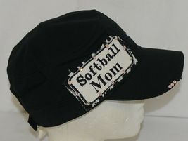 Pinky Bolle Brand Decorative Womans Hat Black Softball Mom Patch image 4