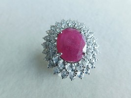 925 STERLING SILVER HAND MADE RING RUBY & CZ FACETED OF WT.-19 GMS. - $165.45