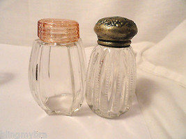 4 Depression Glass Era Shakers In Crystal Two With Sterling Weighted Bases - $7.99