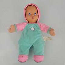 Meritus Stuffed Plush Cloth Doll Aqua Green Blue Pink Satin Beanbag Doll  - $29.69