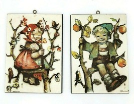 2 Vintage Hummel Wall Plaques Boy and Girl in Tree - Wall Art Decor - $26.14