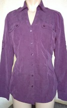 Express Women's Convertible Military Pocket Button Up Shirt Purple Mediu... - $15.50