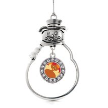 Inspired Silver Turkey Circle Snowman Holiday Christmas Tree Ornament With Cryst - $14.69