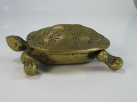 Vintage Brass Turtle Trinket Box Shell 30049 - $74.24