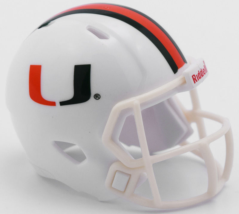 "2 MIAMI HURRICANES SPEED POCKET PRO FOOTBALL HELMET 2"" SIZE  Made By RIDDELL!"