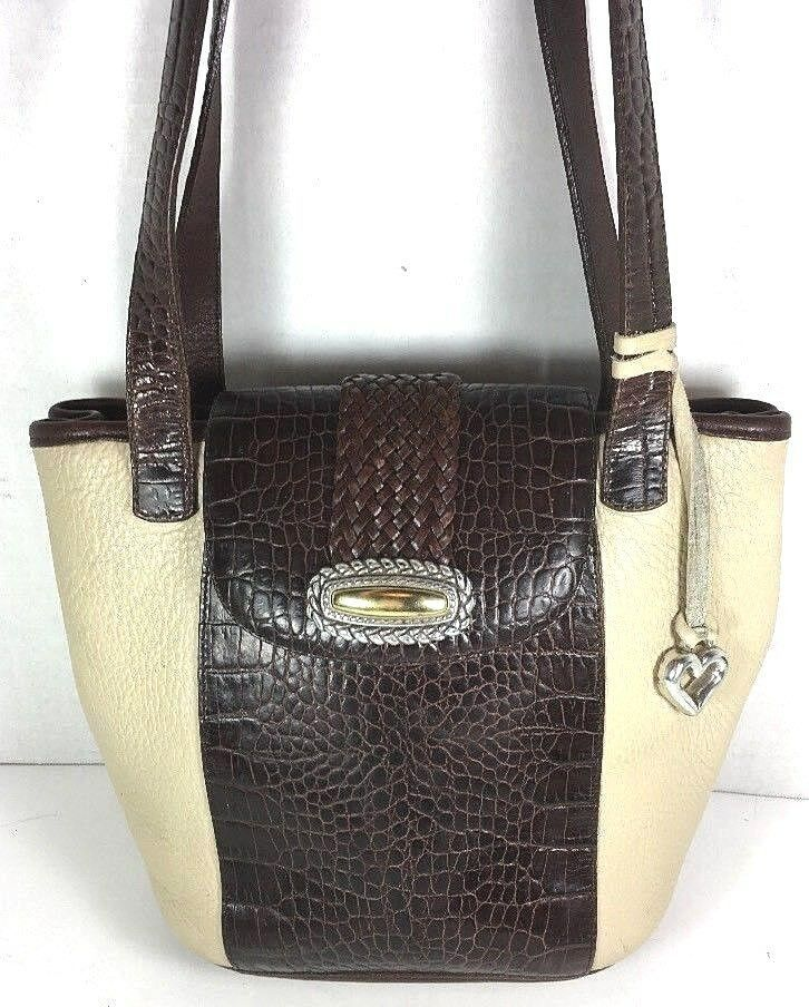 Brighton Vintage Bucket Leather Shouder Bag Ivory with Brown Reptile Print