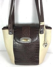 Brighton Vintage Bucket Leather Shouder Bag Ivory with Brown Reptile Print  - $34.91