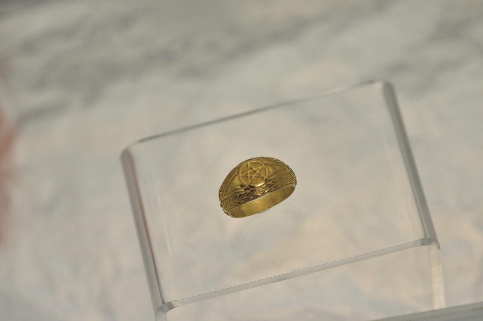 New 24K Yellow Gold Plated Celtic Dragon Evil Eye ring Pentagram Jewelry Pick SZ