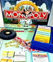 Complete Monopoly Deluxe Edition Parker Brothers Board Game Collectible ... - £12.41 GBP