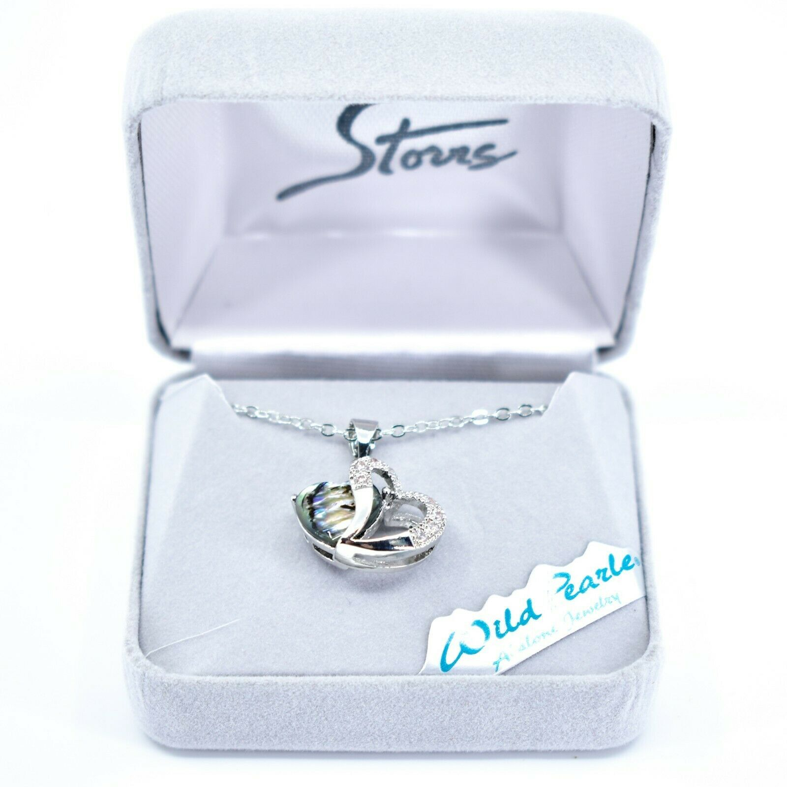 Storrs Wild Pearle Abalone Shell 2 Hearts 3D Love Pendant Silver Tone Necklace