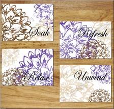 Purple Brown Tan BATHROOM Wall Art Prints Floral Picture Quote Soak Relax Unwind - $13.99