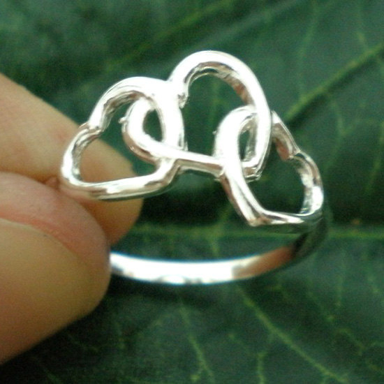Primary image for Three Heart Interlocking Ring - Sterling