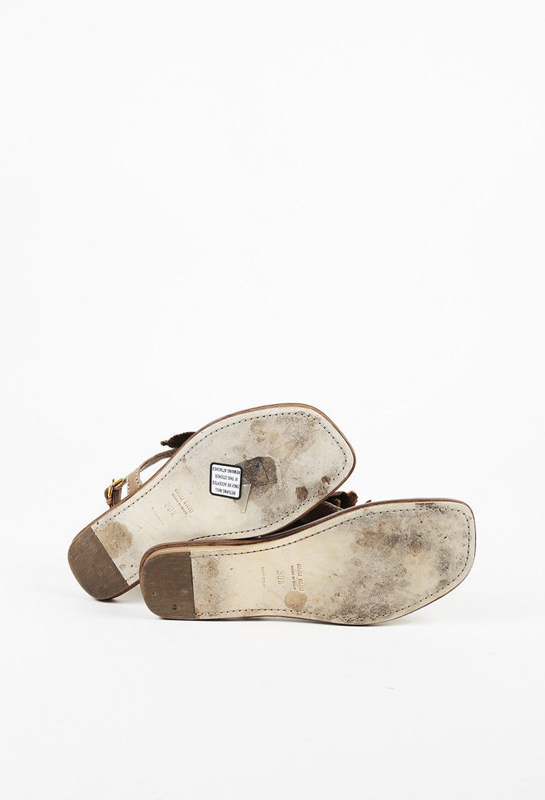Miu Miu Brown Leather T Strap Flat Sandals SZ 38.5