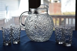 Anchor Hocking Lido Milano Clear Ball Pitcher & 4 Juice Glasses - $24.75
